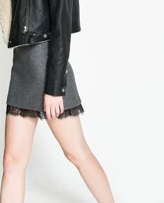 Image 2 of WOOL SKIRT WITH LACE HEM from Zara