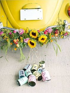 yellow VW bug getaway ride with DIY colorful cans Colorful Indie Wedding Ideas that are sure to make you want to get up and dance! Plus a rockin' DIY project. Photographed by Two Blue Shoes Photography. Wedding Blog, Our Wedding, Wedding Ideas, Wedding Cars, Wedding Planner Madrid, Wedding Getaway Car, Just Married Car, Married Life, Bridal Car