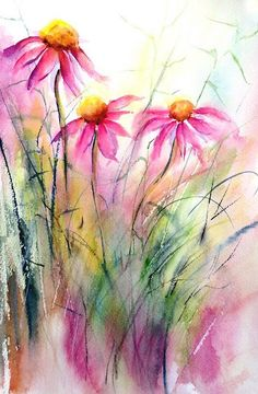 Cone Flowers watercolor painting, so pretty! Watercolor Pictures, Watercolor Cards, Watercolour Painting, Watercolor Flowers, Painting & Drawing, Watercolors, Watercolor Artists, Watercolor Portraits, Watercolor Landscape