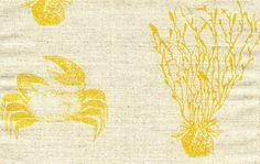 Crab in Saffron from Katie Ridder #fabric #yellow