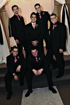 Groomsmen in all black except the tie? I'm thinking even the groom would look nice that way too.