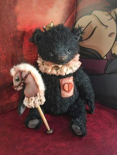 Teddy Bear Vincent - black fur with a fragile heart. He has a dream to meet the one and only.  Vincent is 29 cm tall, designed by me, made by my own pattern and only hand sewed.