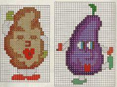 ♥Meus Gráficos De Ponto Cruz♥: Frutinhas e Legumes com Carinhas em Ponto Cruz