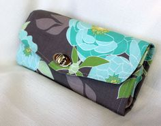Aqua and Grey Floral Clutch Wallet by CottonPaperScissors on Etsy