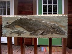 """Cow and Calf Whale pair 34"""" chainsaw wood relief carving nautical sculpture home decor coastal living decor. $135.00, via Etsy."""