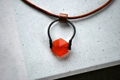 Carnelian Pendant Necklace - Gemstone - Modern - Leather Cord - Short - Single Natural Stone - Black Metal - Horseshoe - Leo - Virgo - OOAK, $42.00