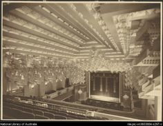 View of the ceiling and curtain from the back of theatre, Capitol Theatre, Swanston Street, Melbourne. Designed by Walter Burley Griffin Melbourne Cbd, Melbourne Victoria, Victoria Australia, Melbourne Australia, Old Pictures, Old Photos, Melbourne Activities, Stage Curtains, St Kilda