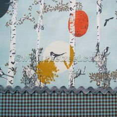 STAMPED GROVE Daylight Spa Blue - Cotton Quilt Fabric by the Yard or Half Yard - Art Gallery Fabrics Birch Trees Deer Birds