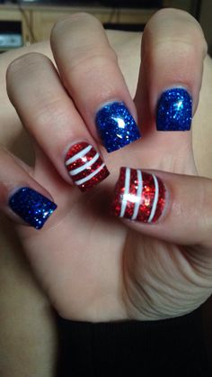 Nails 4th of July acrylic gel red white blue American nails