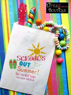Schools out for summer , Favor bags, candy bags, Candy Buffet, Birthday party, Sweets, Treats, Set of 24. $19.00, via Etsy.