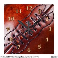 Cool Football CLOCK as Vintage Football Wall Décor CLICK HERE: http://www.zazzle.com/football_clock_as_vintage_football_wall_decor-256983302188909726?rf=238012603407381242 To view more Vintage Sports Gift Ideas CLICK HERE: http://www.Zazzle.com/YourSportsGifts  or Visit our Website http://YourSportsGifts.com