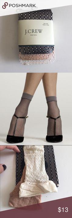 Jcrew fishnet ankle socks Jcrew cream/nude/black fishnet ankle socks, perfect condition J. Crew Accessories Hosiery & Socks