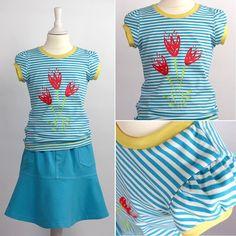 """""""#ringelgehenimmer - das zweite Shirt zum Sweat-Jeans-Röckchen im Blog, aus den neuen Sommerringeln von #noshorganics. #kleinfanö mit #blumenliebe,…"""""""