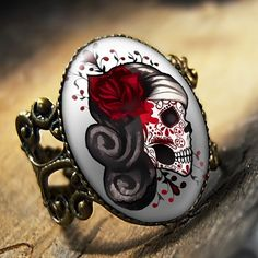 Day of the Dead Muertos Tattoo Skull Ring