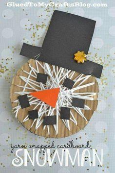 Yarn wrapped cardboard snowman - kid craft winter activities for kids, winter crafts for kids Winter Activities For Kids, Winter Crafts For Kids, Winter Kids, Art Activities, Winter Christmas, Art For Kids, Christmas Crafts, Yarn Crafts, Diy And Crafts