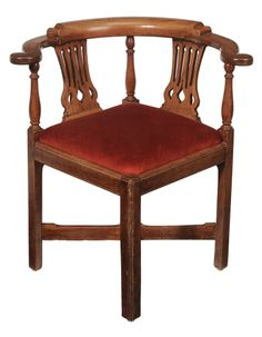 Chippendale Fruitwood Corner Chair British, 18th Century, Pierced Splat,  Scrolled Hand Grips With