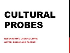 """This is an introduction of the """"Cultural Probes"""" method by Gaver, Dunne and Pacenti. I have used it to encourage students to get inspiration from users. Cultural Probes, Design Thinking, Service Design, Encouragement, Student, How To Get, Culture, Inspiration, Biblical Inspiration"""