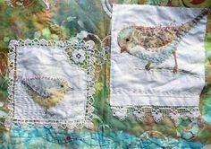 works in progress ~ Jane LaFazio Embroidery Fabric, Fabric Art, Beaded Embroidery, Fabric Crafts, Embroidery Stitches, Embroidery Patterns, Art Textile, Textile Artists, Inchies
