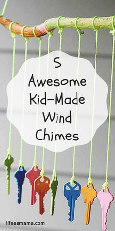 5 Awesome Kid Made Wind Chimes Kids love wind chimes because they awaken the senses. The sights and sounds are fascinating to our children. That's why making wind chimes is a great project for kids. Check out these 5 totally cool o (Cool Crafts For Kids) Diy Garden Projects, Craft Projects, Garden Ideas, Garden Crafts For Kids, Recycling Projects For Kids, Suncatchers, Preschool Crafts, Fun Crafts, Baby Crafts