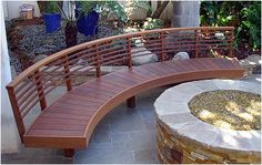 Outdoor living Curved Wooden Bench!