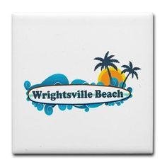 Wrightsville Beach NC - Surf Design Tile Coaster on CafePress.com