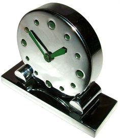 1930s Art Deco Modernist Chrome Clock Art Nouveau, World Clock, Art Deco Decor, Streamline Moderne, Cool Clocks, Machine Age, Art Deco Period, Art Deco Fashion, Radios