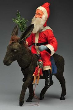 Rare Large Father Christmas Riding Donkey.