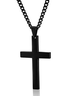a33cdb616bebbc Jstyle Stainless Steel Chain Black Cross Necklace for Men Women, 24 Inch