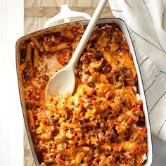 Sloppy Joe Veggie Casserole - Taste of Home Veggie Casserole, Casserole Recipes, Sloppy Joe Casserole, Noodle Casserole, Unique Recipes, Ethnic Recipes, African Recipes, Chicken Pasta Bake, Veggie Lasagna
