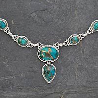 Sterling silver Y necklace, 'Blue Magnificence' by NOVICA