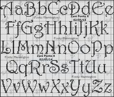 Alphabet cross stitch pattern.