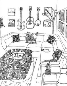 Color Your Best Life : Relaxing Rooms and Soothing Scenes Coloring Book