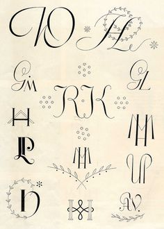 Embroidery monogram patterns from 1950 by Vakuoli, via Flickr