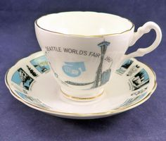Vintage Seattle Worlds Fair Tea Cup Saucer 1962 Space Needle Monorail St. Helens