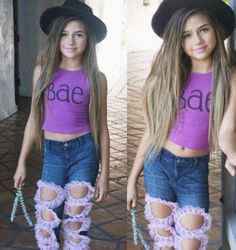 Babydoll Denim by Khia Denim and We're So Fancy. Personalized distressed denim made and designed by Khia's mom Tiffany. Young Models, Child Models, Tween Girls, Cute Girls, Khia Lopez, Pretty Outfits, Cute Outfits, Hispanic Girls, Tween Fashion