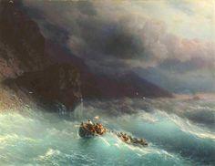 Ivan Aivazovsky. Storm on Black sea. 1873