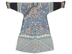 A kesi silk blue-ground 'nine-dragon' robe, Late Qing Dynasty