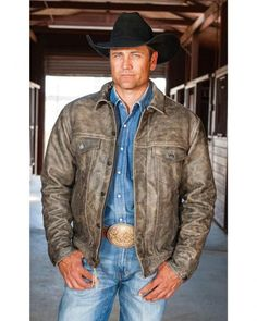 STS Ranchwear Men's Maverick Distressed Brown Leather Jacket