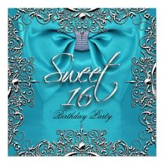 Teal Elegant Sweet Sixteen Sweet 16 Party White Personalized Announcements by zizzago.com