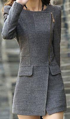 grey zip coat