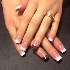 Fall inspired accent nail with classic French manicure.