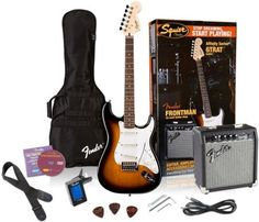 Squier Affinity Stratocaster Electric Guitar Pack w/ Amplifier Brown Sunburst Strat Guitar, Guitar Tabs, Acoustic Guitar, Beginner Electric Guitar, Cool Electric Guitars, Best Electric Scooter, Body Electric, Best Guitar Players, Fender Squier