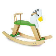 Juguete balancín de #madera en forma de caballo y colorido #niño #motricidad #educacion