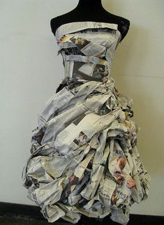 cool Newspaper Dress with lovely texture detail // fashion meets art. This dress is p...