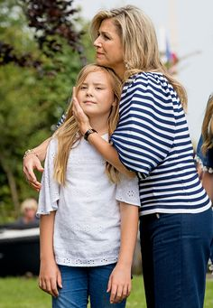 Queen Maxima of The Netherlands and youngest daughter Princess Ariane of The Netherlands during the annual summer photo call at the Kagerplassen on July 7, 2017 in Warmond, Netherlands.