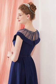 Shop Vintage Navy Blue Homecoming Party Dress Knee Length with Belt online. SheProm offers formal, party, casual & more style dresses to fit your special occasions. Dress Neck Designs, Blouse Designs, Vetement Fashion, Girls Dresses, Prom Dresses, Vintage Prom, Indian Designer Wear, Knee Length Dresses, Night Outfits