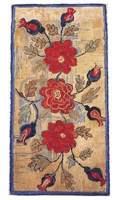 Antiques & Fine Art - Garthoeffner Gallery Antiques - An Extraordinary Hooked Rug Rug Hooking Designs, Rug Hooking Patterns, Penny Rugs, Vintage Hooks, Vintage Rugs, Rug Inspiration, Floor Cloth, Hand Hooked Rugs, Handmade Rugs