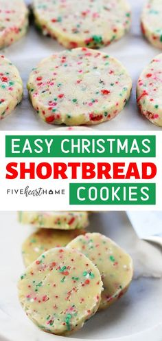 Easy decorated Christmas cookies loaded with festive sprinkles are the perfect addition to your holiday cookie platter or Christmas cookie exchange! These Shortbread Cookies are a family favorite and are simple to make. Easy Christmas Cookie Recipes, Christmas Cookie Exchange, Christmas Desserts, Holiday Recipes, Christmas Menu Ideas, Easy Holiday Cookies, Easy Holiday Desserts, Dessert Simple, Holiday Baking