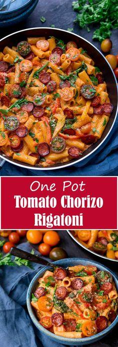 One Pot Creamy Tomato and Chorizo Rigatoni Easy Pasta Recipes, Easy Chicken Recipes, Easy Dinner Recipes, Cooking Recipes, Healthy Recipes, One Pot Recipes, Diabetic Recipes, Rigatoni, Mozzarella