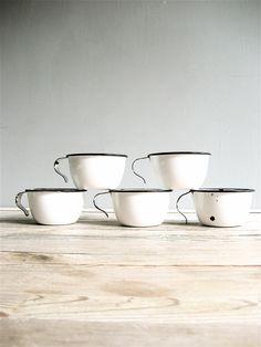 Vintage  Enamel Mugs. $49.00, via Etsy.